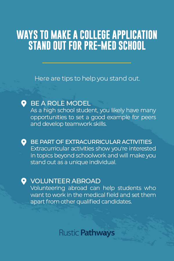 Ways to make a college application stand out for pre-med school