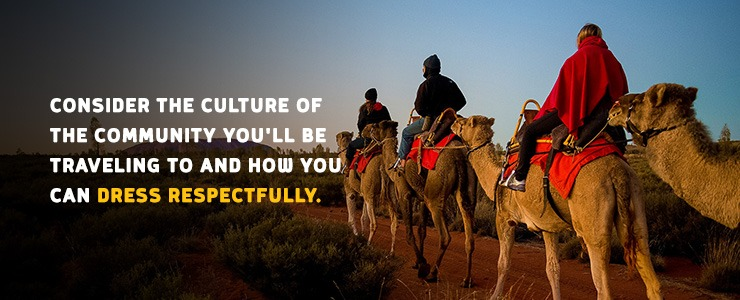 Students riding on camels as a part of a Rustic Pathways travel program