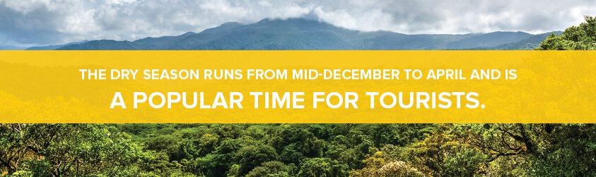 Costa Rica's dry season runs from mid-December to April and is a popular time for tourists.
