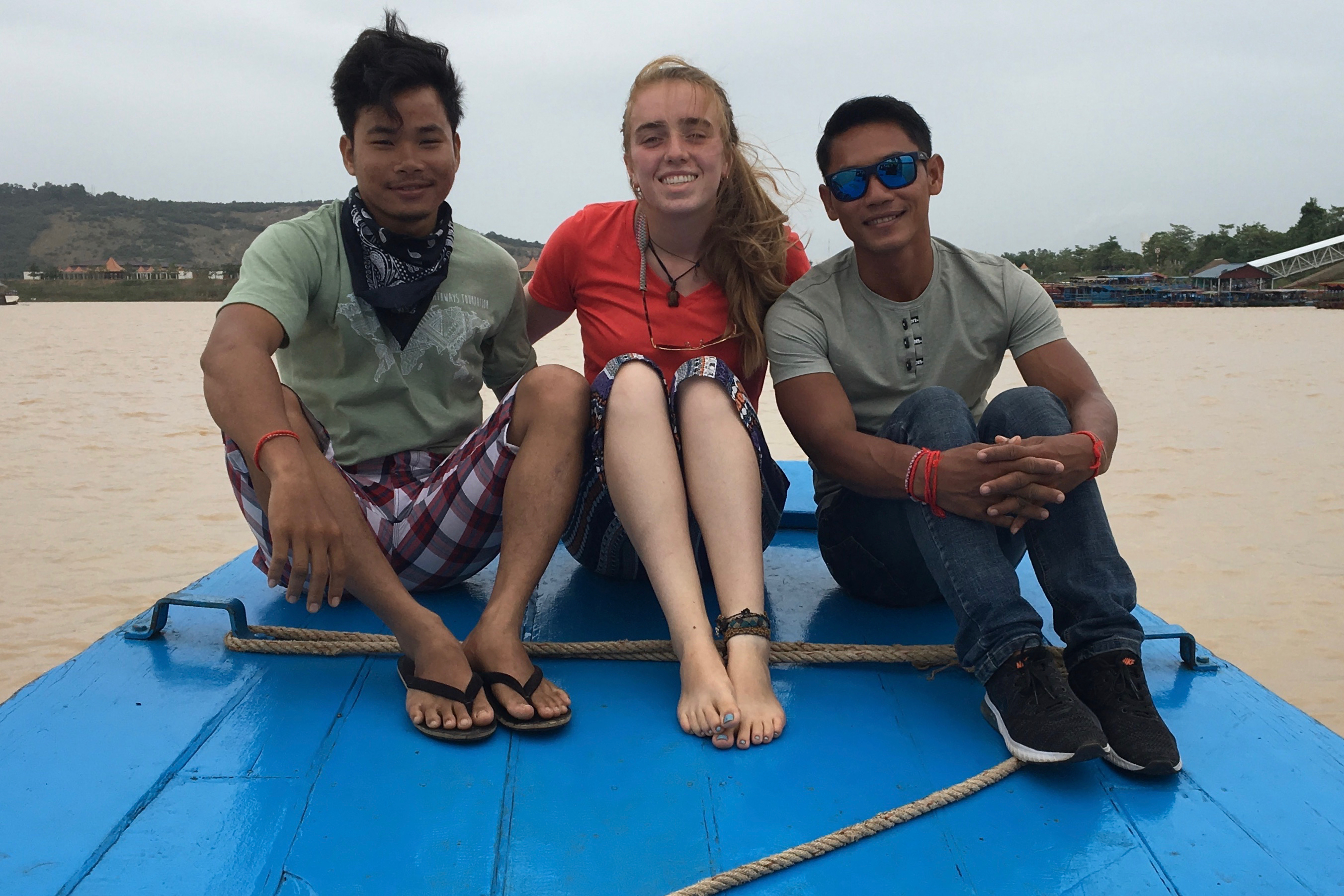 Cate in the floating community of Prek Toal, Cambodia