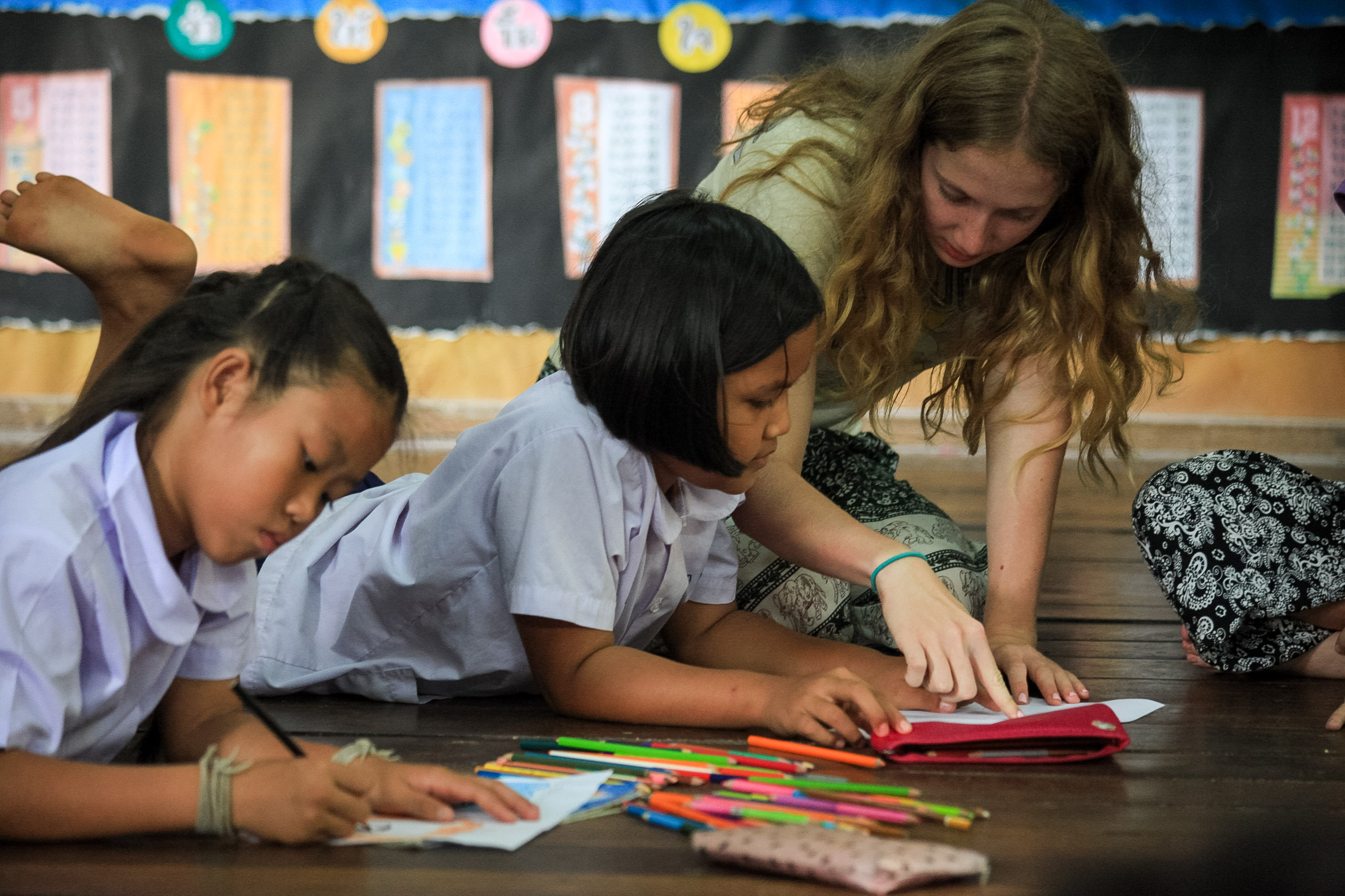 tutoring students in Thailand